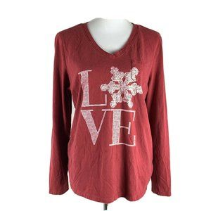 Life is Good Red Love Graphic Long Sleeve Tee